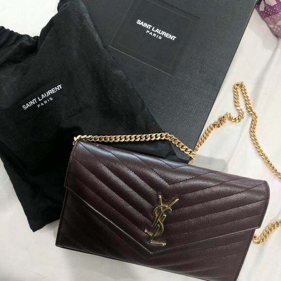 Yves Saint Laurent Handbags - ❌SOLD! RARE COLOR! YSL Eggplant Chevron WOC